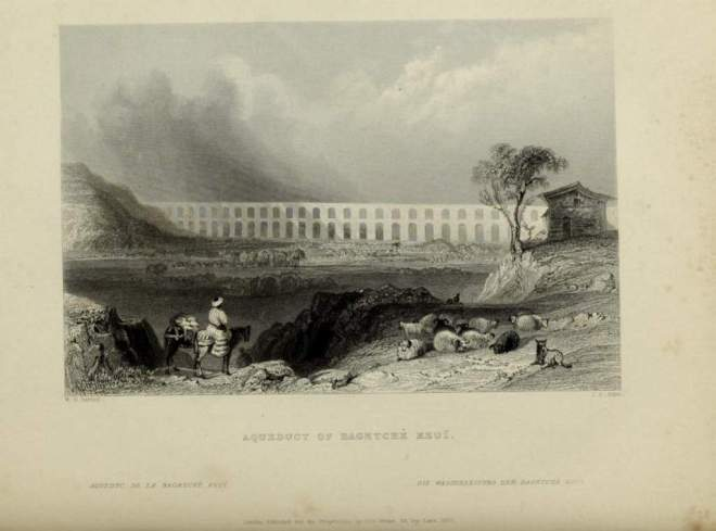 Aqueduct of Bahcekoy, Istanbul in the 1800s