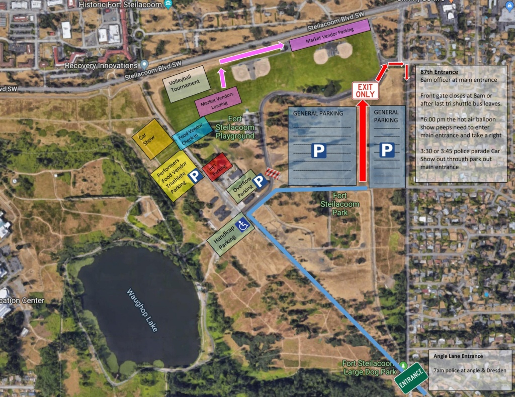 Overhead map of Fort Steilacoom park detailing where general parking, vendor parking, overflow parking, handicap parking and other display areas are to be set up for SummerFEST 2019 in Lakewood, WA