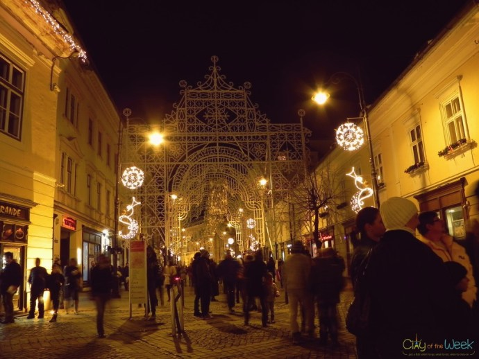 Christmas lights at the Sibiu Christmas Market