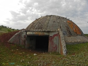 Bunkers of Albania scattered across the field