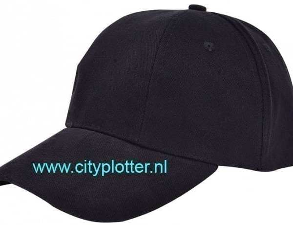 Pet zwart cap black om te bedrukken turned brushed caps zwart met bronse clip sluiting en versteviging Cityplotter Zaandam