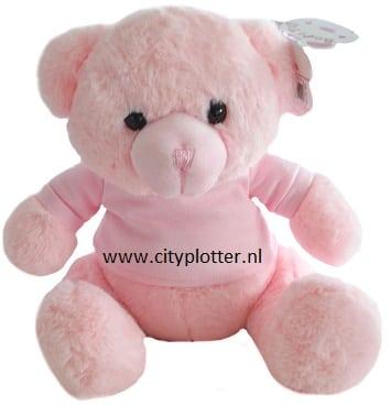 knuffel beer roze met shirtje cityplotter zaandam