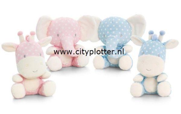 knuffel olifant en giraf roze en licht blauw cityplotter zaandam