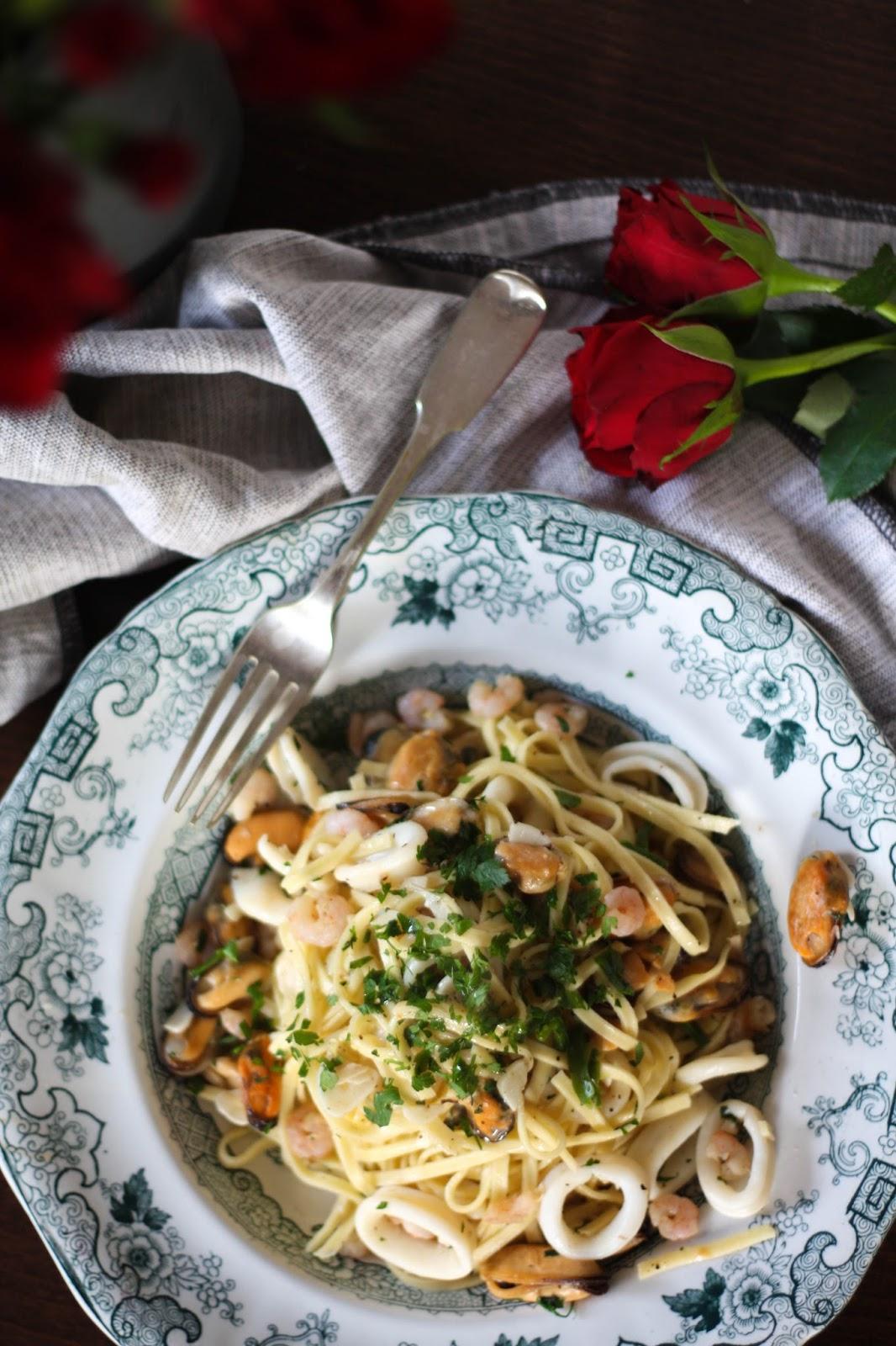 Delicious seafood tagliatelle