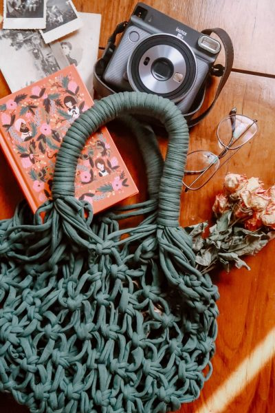 DIY macrame net bag from recycled T-shirt yarn