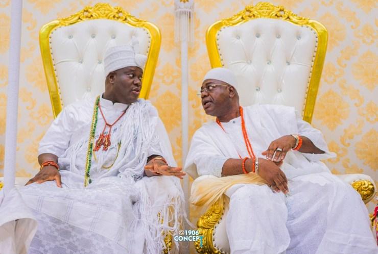 The Ooni of Ife, Oba Adeyeye Enitan Ogunwusi and the Alara of Ilara, Oba Olukayode Olufolarin Ogunsanwo