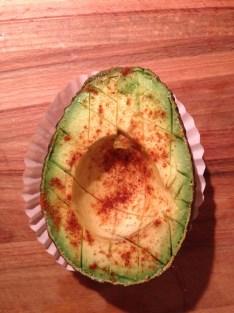 sprinkle avocado with sea salt and chili powder