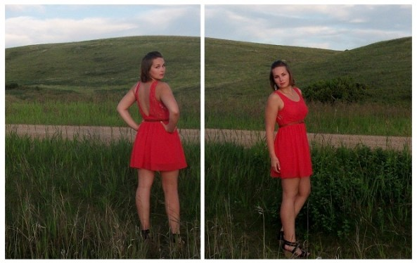 coral dress - evening look