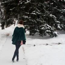 walk away - back detailing, ruched waist cape and a sock bun,