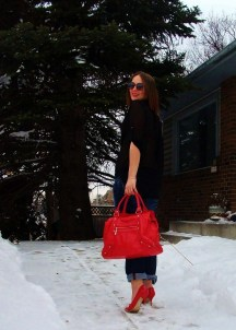 Bag by Aldo, Stilletto's by Guess, Denim by Mavi, Blouse by Le Chateau