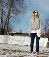 long blonde hair, polka dots, casual knits and converse