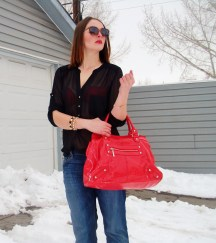 mavi boyfriend jeans, aldo accessories, le chateau top