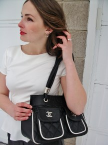 Quilted Chanel, White Peplum, Red Lips and loose waves