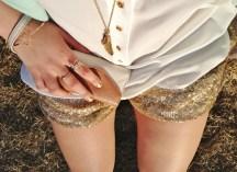 LA is for Lovers - aldo accessories, gold sequin shorts, white silk blouse