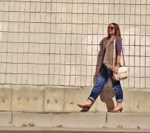 fur trim vest, leather wrap watch, pony hair heels