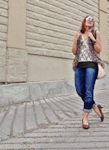 fur vest, lace top and leopard heels