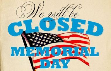 Notice: Closed on Memorial Day 5/27/19