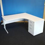 White Office Desk Corner Radial J Shape Modern Pedestal New