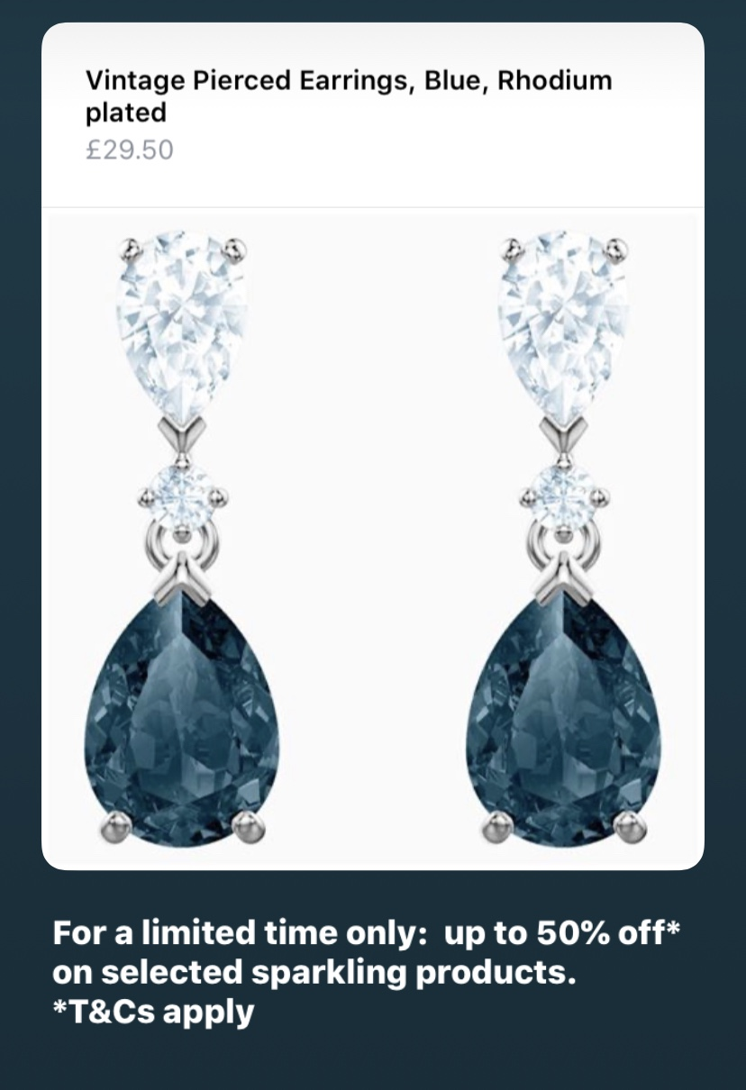 Vintage Pierced Earrings, Blue, Rhodium plated | Swarovski.com