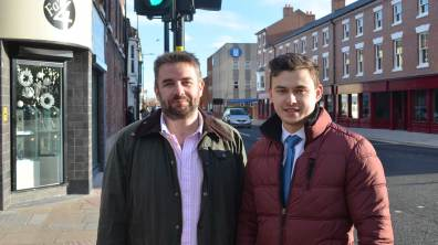 Councillor Richard Davies, Executive Member for Highways and Transportation at Lincolnshire County Council, with Alex Murry a graduate engineer from Lincoln who worked on the project for Belfour Beatty.
