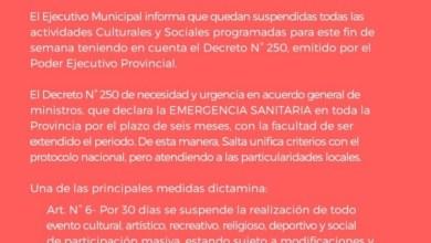 Photo of El municipio emitido el decreto de Suspensión de actividades