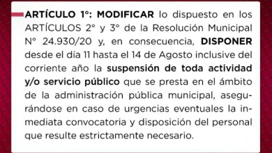 Photo of #Tartagal: Suspensión de actividades en el ámbito del municipio