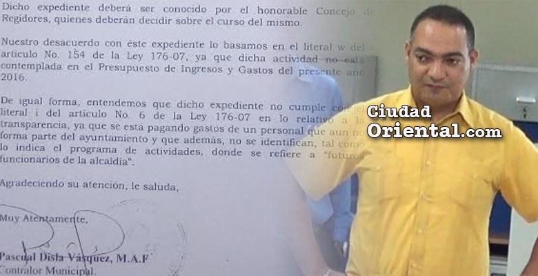 Pascual Disla, Contralor Municipal del ASDE