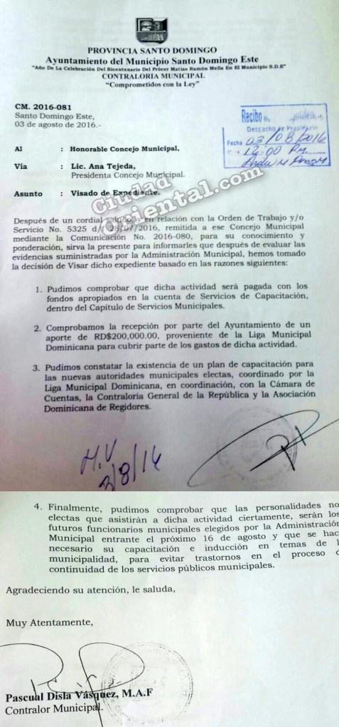 Comunicación mediante la cual Pascual Disla autoriza el pago del resort para los futuros funcionarios del ASDE
