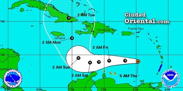 Posible área de influencia de la tormenta tropical Mattew