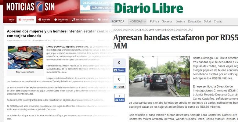 Impresión de pantallas de los portales Dario Libre y Noticias SIN