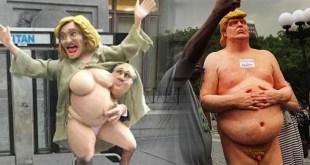 Estatuas de Hillary Clinton y Donald Trump en NY