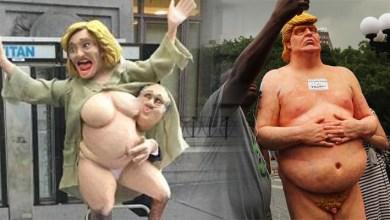 """Photo of Hillary Clinton y Donald Trump al """"desnudo"""" en las calles de Nueva York"""