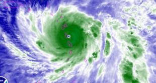 Posición del huracpan maría alas 8.00 Pm del lunes 18 de Septiembre 2017