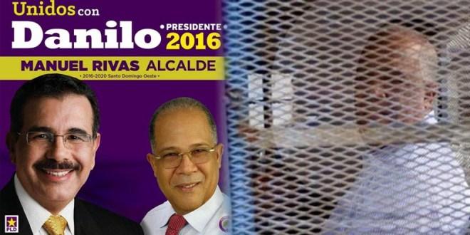 Manuel Rivas en un afiche de campaña junto al presidente Danilo Medina. A la derecha, Manuel Rivas preso en foto de Danny Polanco de El Caribe. / Composición de Ciudad Oriental