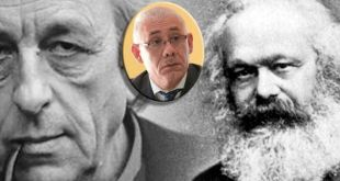 Louis Althusser ,(i), Elso Segura (recuadro) y Carlos Marx
