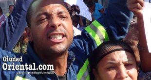 Un airado manifestante en San Isidro