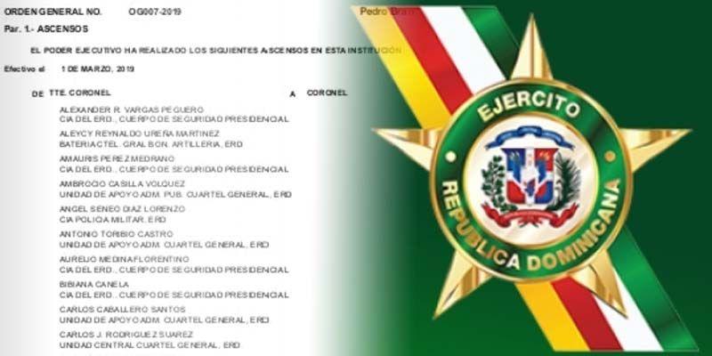 Aquí todos los ascensos en el Ejército de la República Dominicana