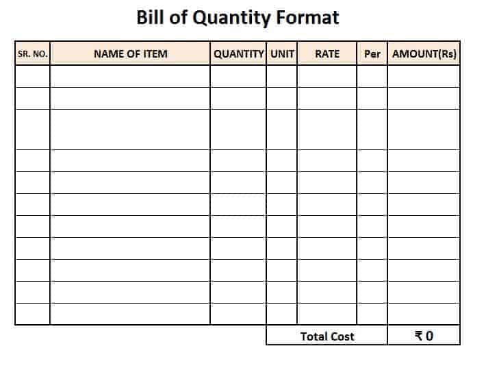 Bill of Quantity Sample Sheet