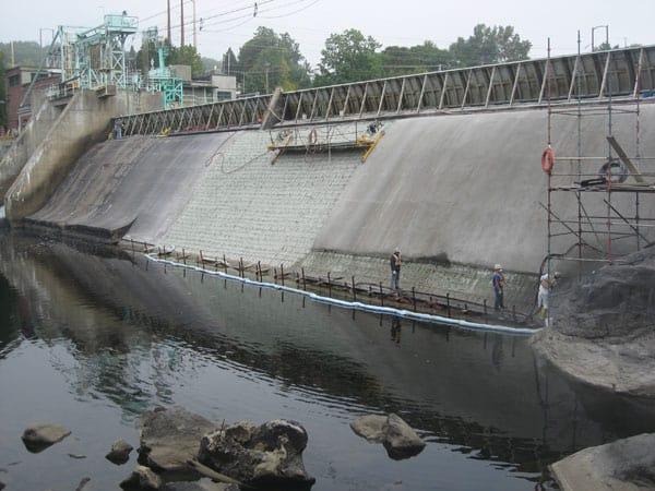 Spillway Surface repair using shotcrete