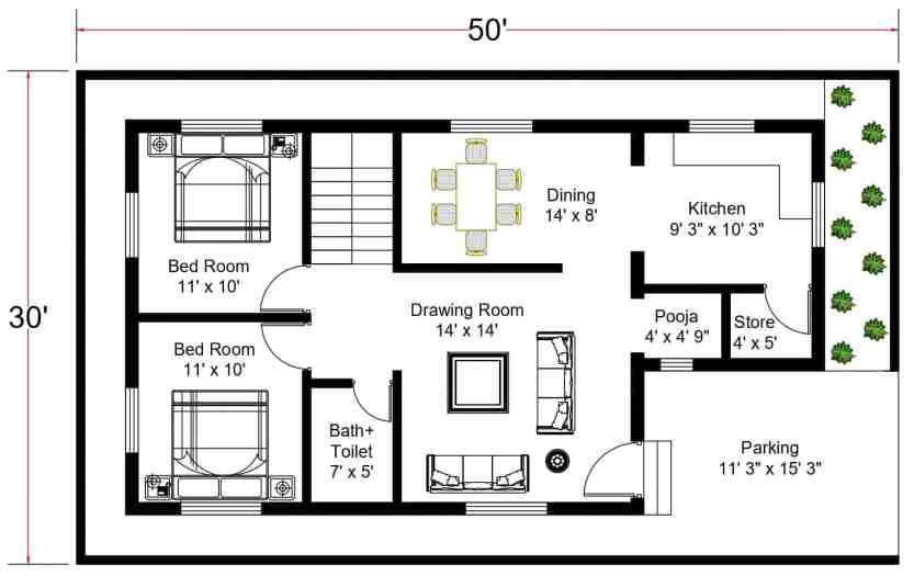 30x35 ft. Free Download House Plans