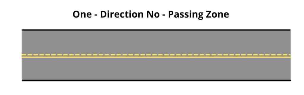One Direction No-Passing Zone Pavement Markings
