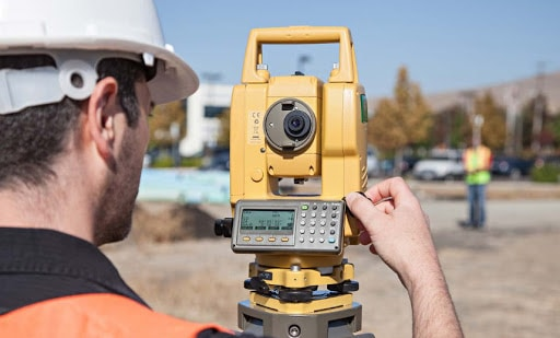 Taking reading on total station