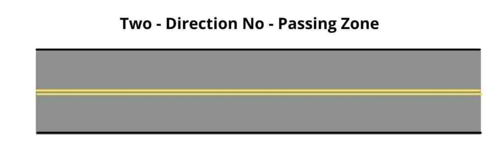 Two-Direction No-Passing Zone Pavement Markings