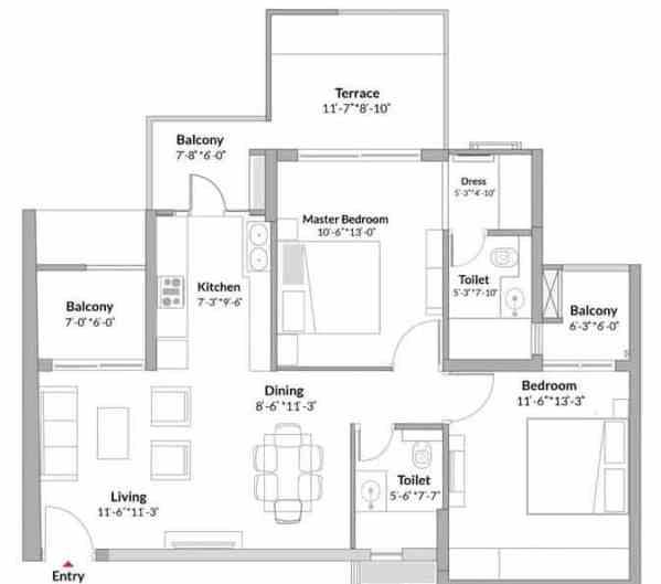 2 BHK 1T House Plan