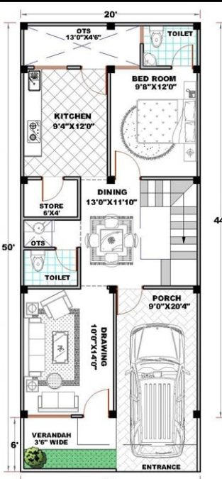 20x50 House Plan | 20*50 House Plan | 20x50 Home Design | 20*50 House Plan With Car Parking