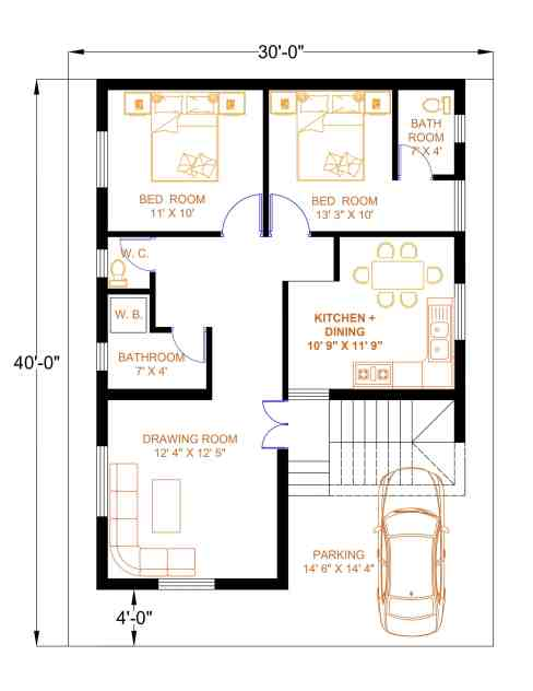 30×40 House Plan   30*40 House Plan   30×40 Home Design   30*40 House Plan With Car Parking