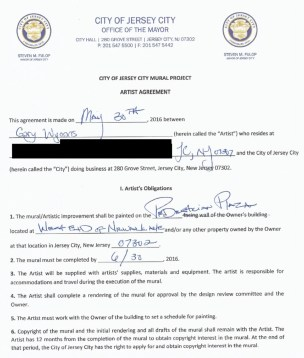 Page 1 of the 2-page contract for the Monopoly mural.