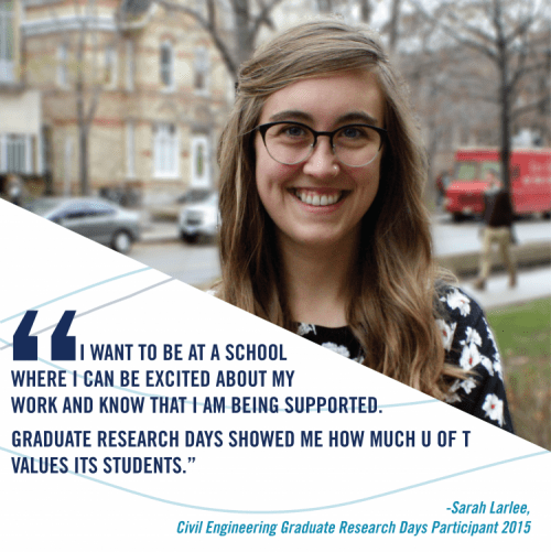 """I want to be at a school where I can be excited about my work and know that I am being supported. Graduate research days showed me how much U of T values its students."" said Sarah Larlee, past participant of Graduate Research Days."