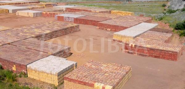 Stacks of bricks at brick works