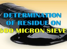 BITUMEN EMULSION TEST - RESIDUE ON 600 MICRON SIEVE